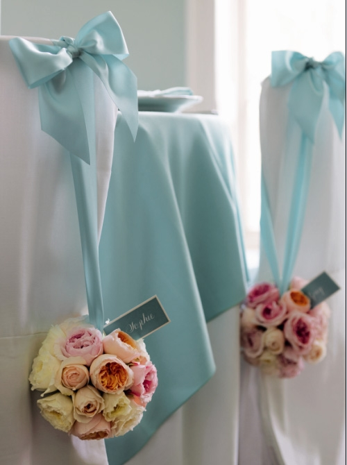 Tiffany inspired wedding chair back styling