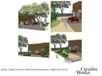 Cindy Kirkland Creative Works Garden Design 3D visuals SketchUp driveway project, Kingswood, Surrey