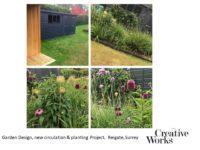 Cindy Kirkland Creative Works Garden Design, new circulation & planting Project, Reigate, Surrey