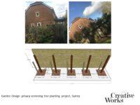 Cindy Kirkland Creative Works Garden Design privacy screening tree planting project, Surrey